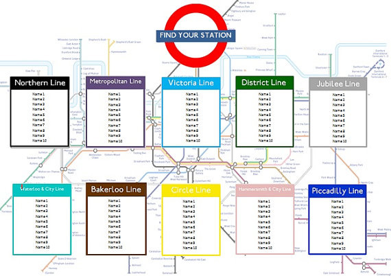 London tube map seating plan (instant download) – etsy.com